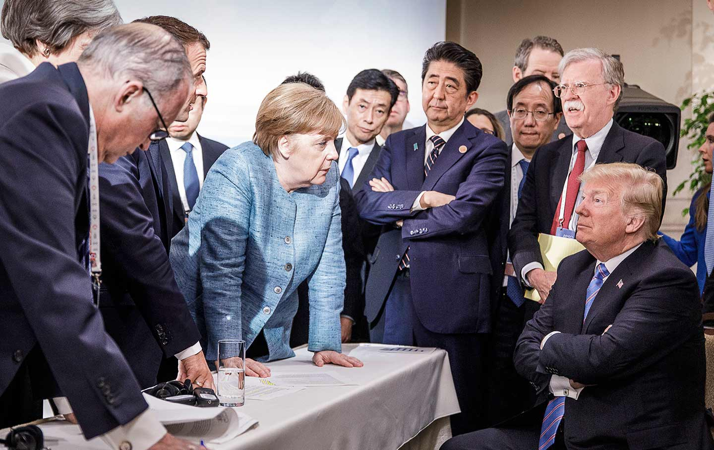 Angela Merkel stares down Trump G-7