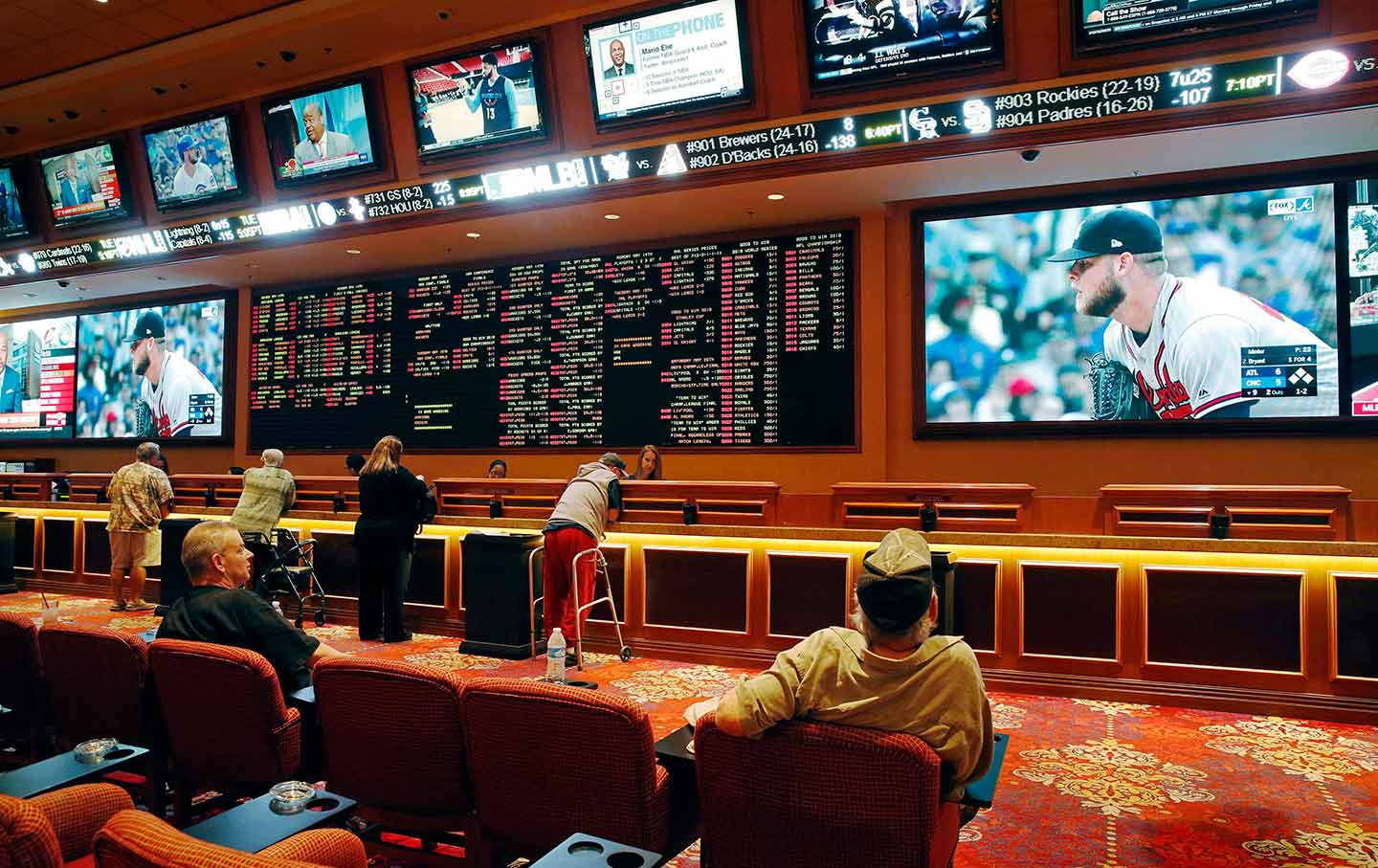 Sports betting board at casino