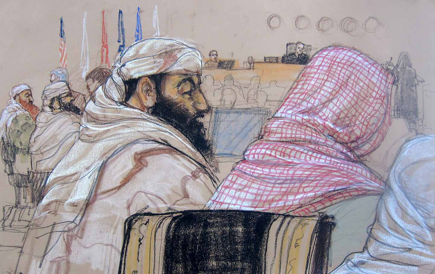Courtroom sketch of 9/11 defendants