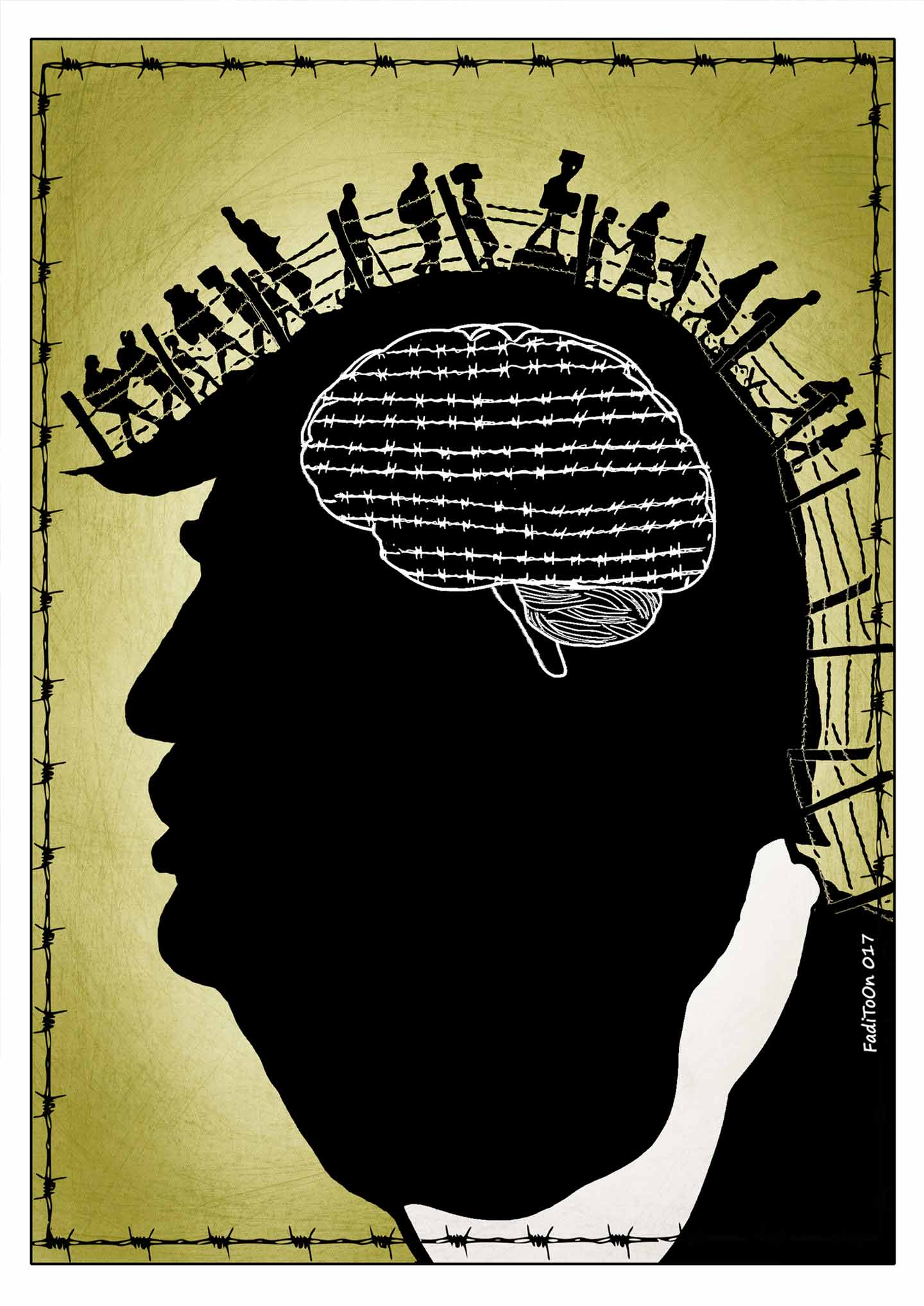 Fadi Abou Hassan cartoon shows silhouette of Trump's head with a line of people walking behind a barbed wire fence along his hair
