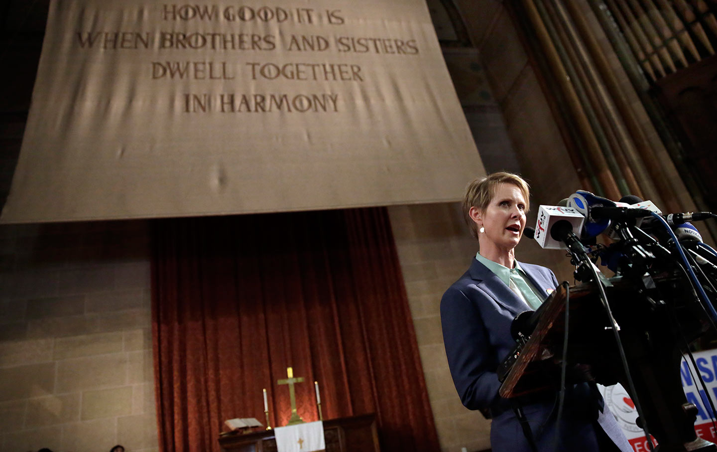 Cynthia Nixon at St. Paul & St. Andrew Methodist Church