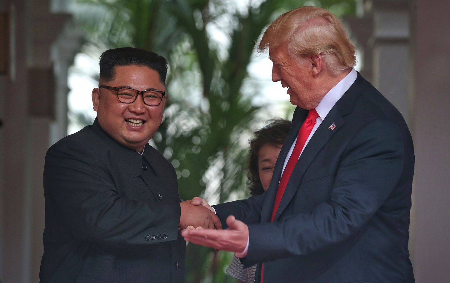 Trump and Kim handshake in Singapore