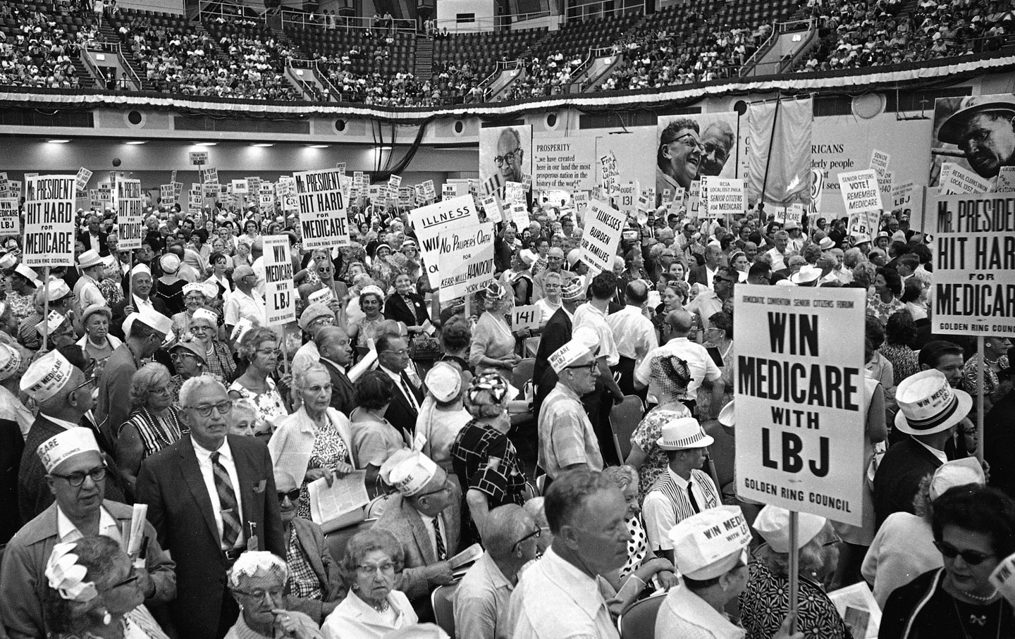 senior citizens supporting Medicare at the 1964 Democratic National Convention