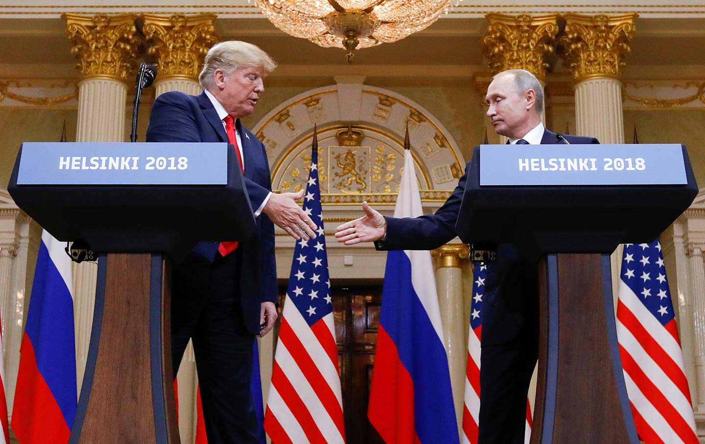 Helsinki Summit: Handshake between Putin and Trump