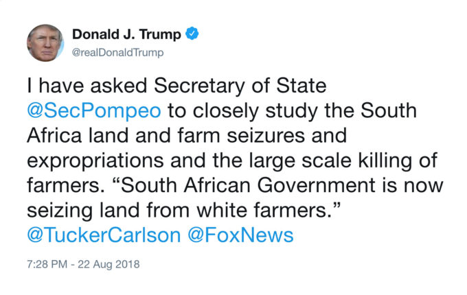 With His South Africa Tweet, Trump Became a Megaphone for a White ...
