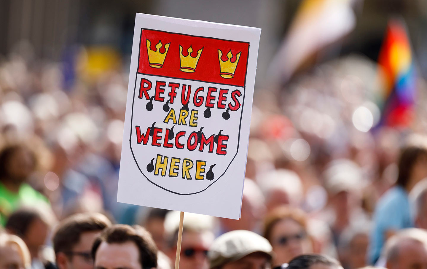 Refugees welcome in Germany sign