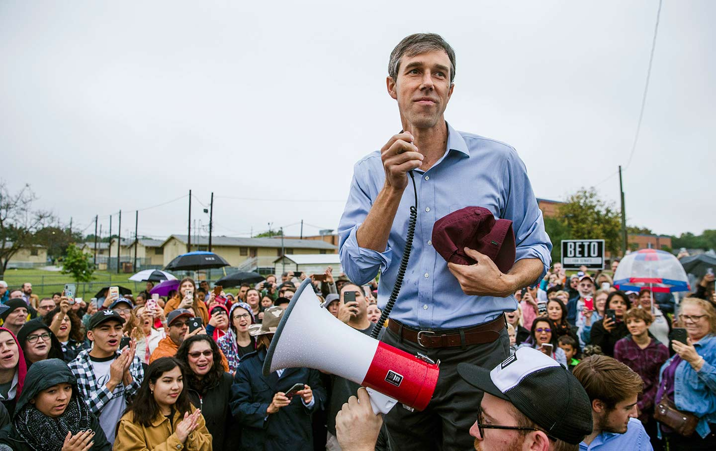 Beto O'Rourke with megaphone