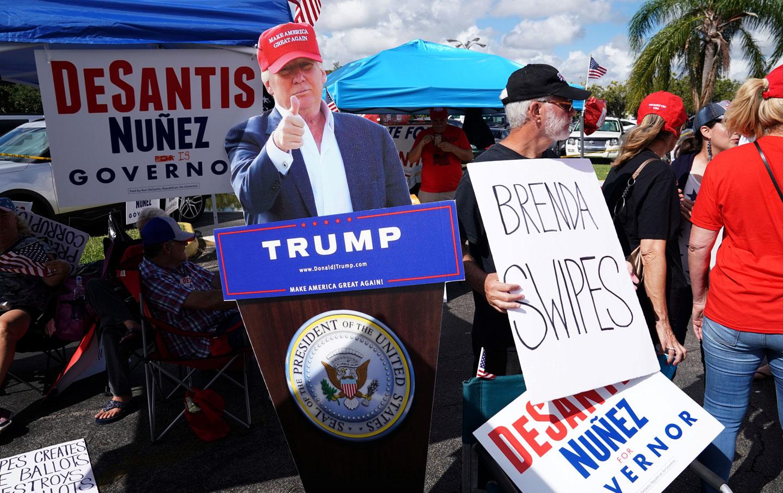 Trump cutout at Florida recount protest