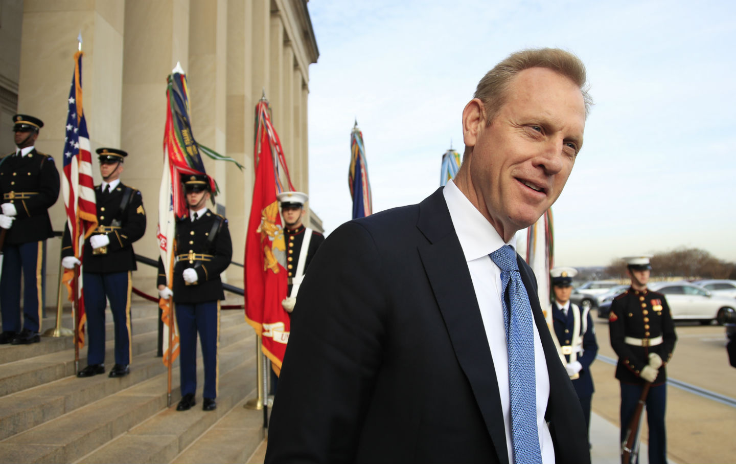 Deputy Defense Secretary Patrick Shanahan, speaks to reporters
