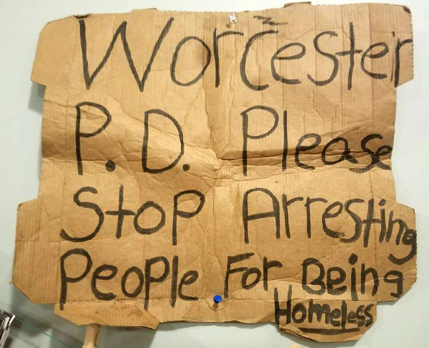 Cardboard Sign Worcester PD