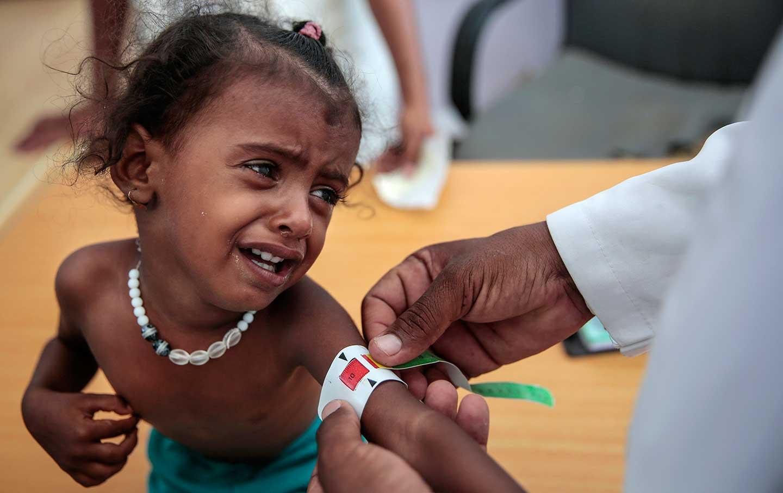 Yemen child crying