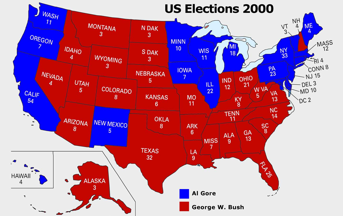 Electoral College map, 2000