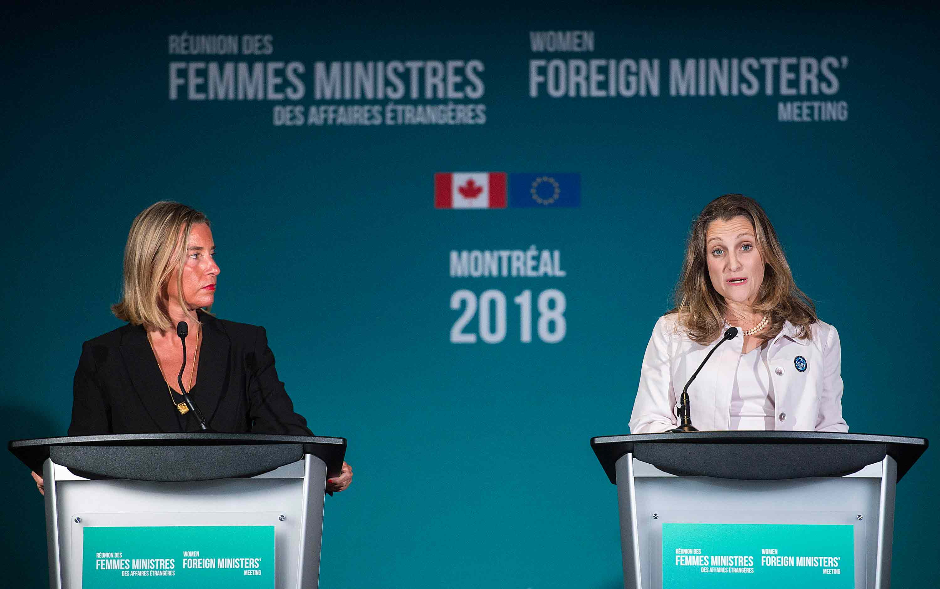 Freeland and Mogherini at the Women Foreign Ministers Meeting