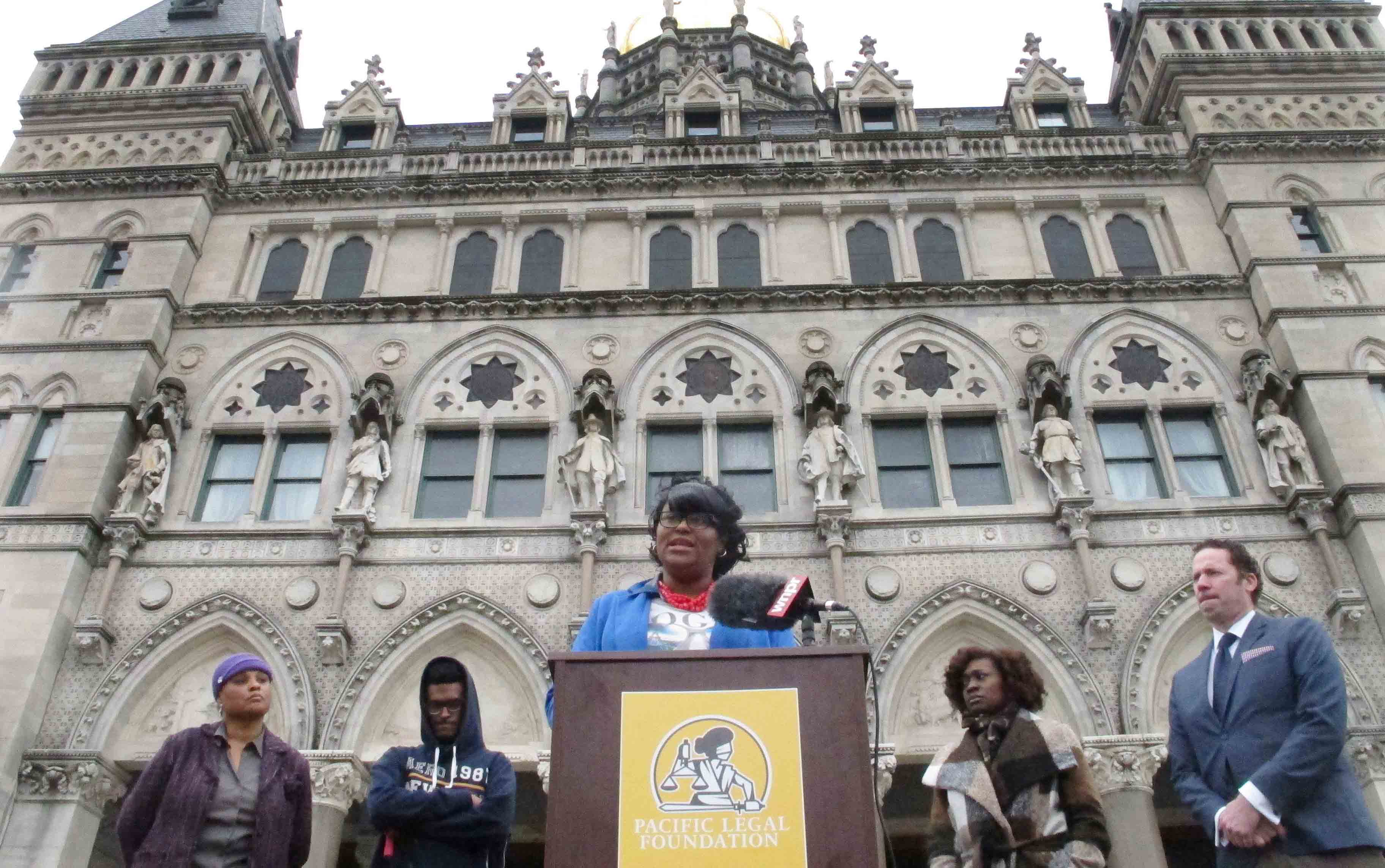 LaShawn Robinson outside the Connecticut Capitol
