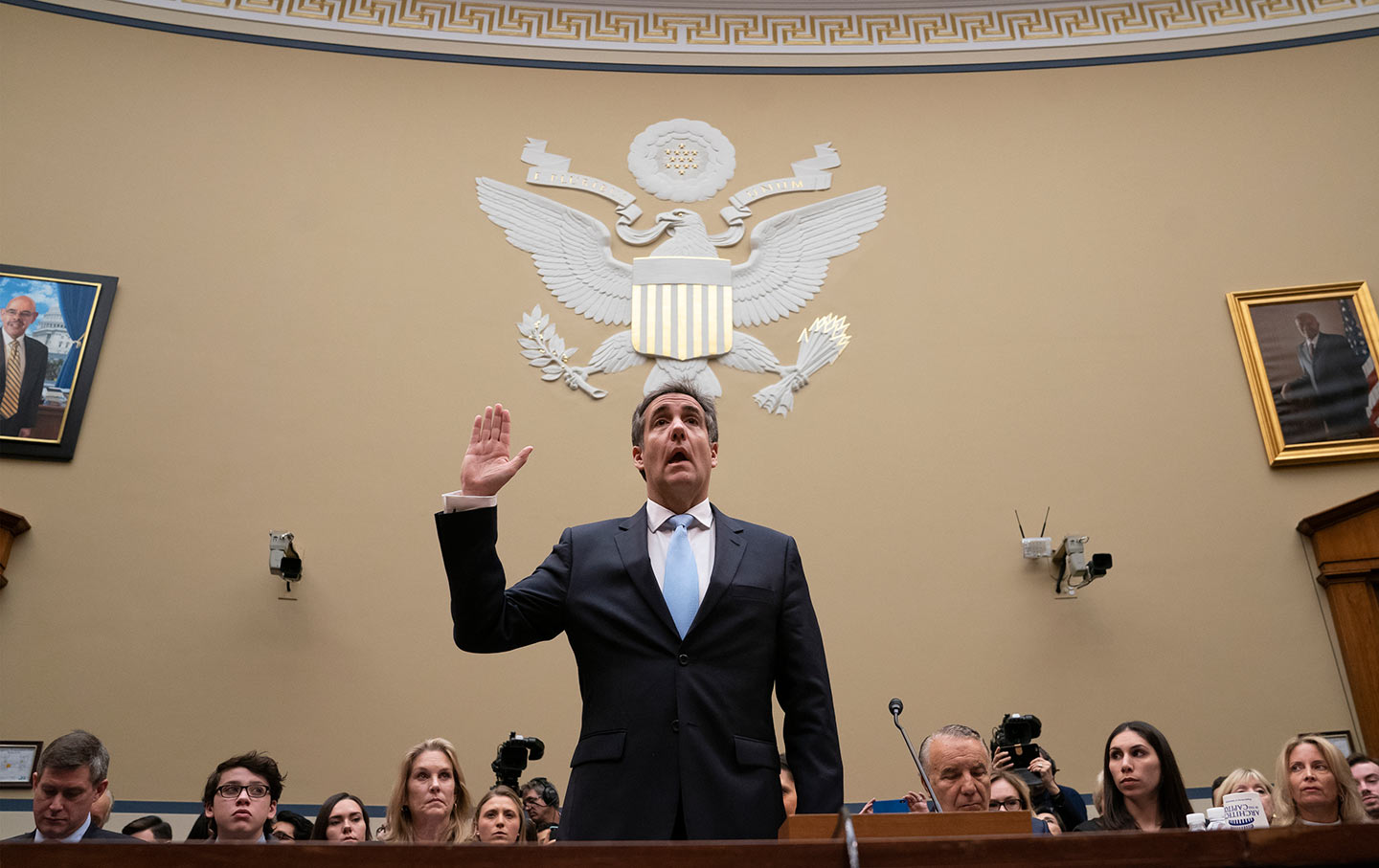 Michael Cohen being sworn in to testify before Congress
