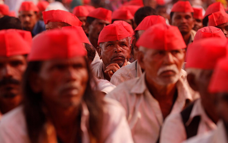 Members of the All India Kisan Sabha at a rally.
