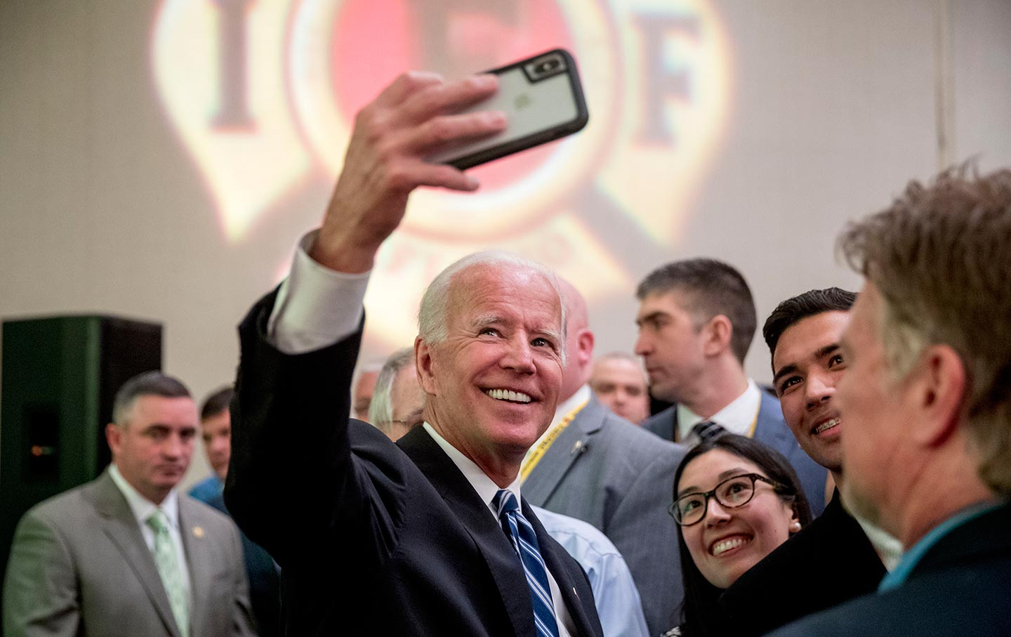 Joe Biden takes a selfie
