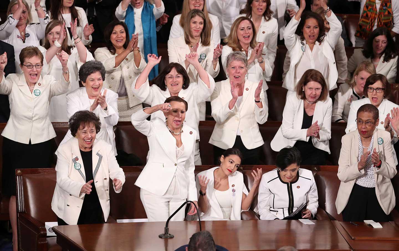 Women in Congress cheering