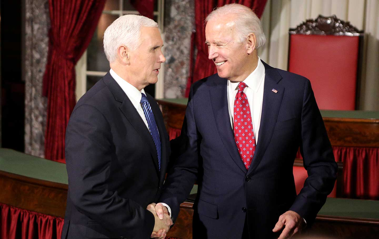 Joe Biden with Mike Pence