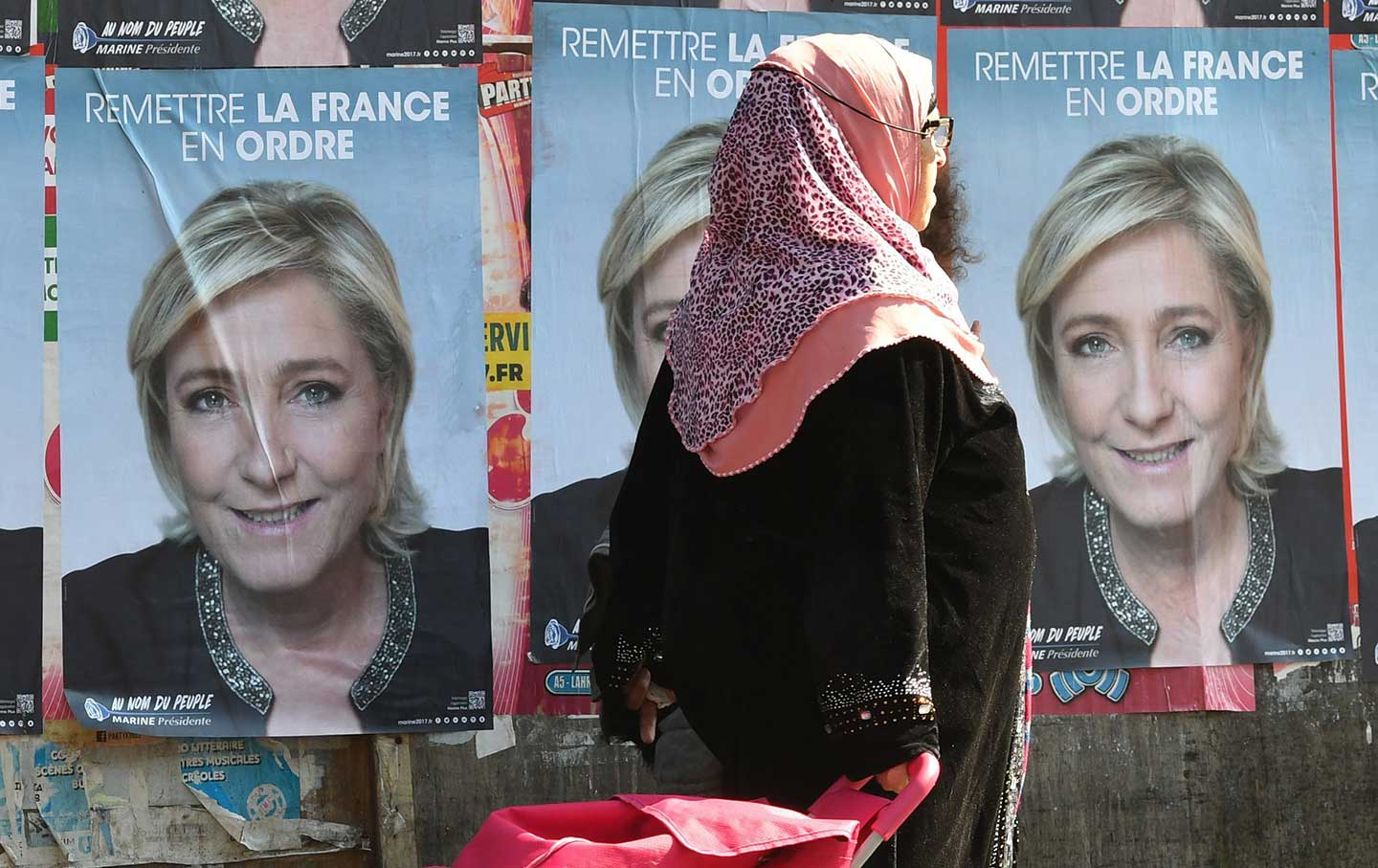 Marine Le Pen election posters.