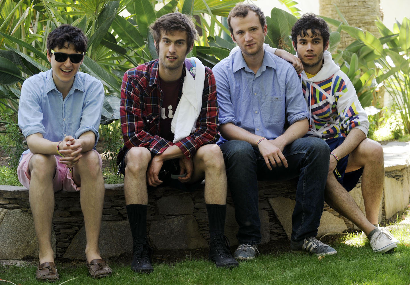 Ezra Koenig, Chris Tomson, Chris Baio and Rostam Batmanglij of the band Vampire Weekend pose for a portrait backstage during the first day of the Coachella Valley Music and Arts Festival in Indio, Calif., Friday, April 25, 2008.