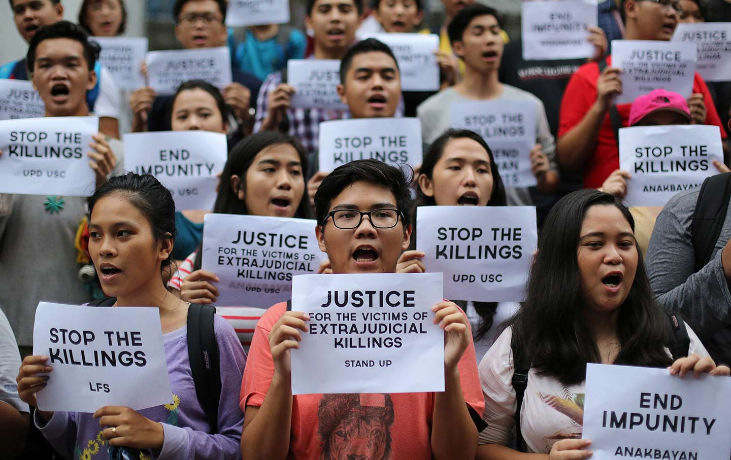 Students at the University of the Philippines protest Duterte