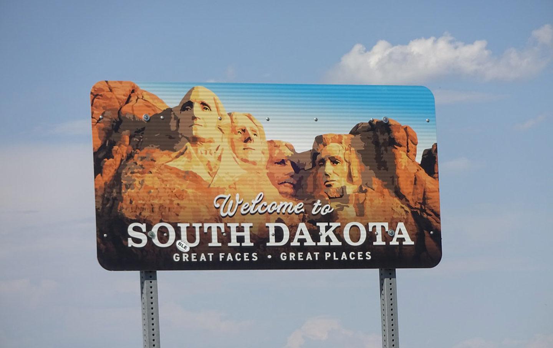 South Dakota state welcome sign
