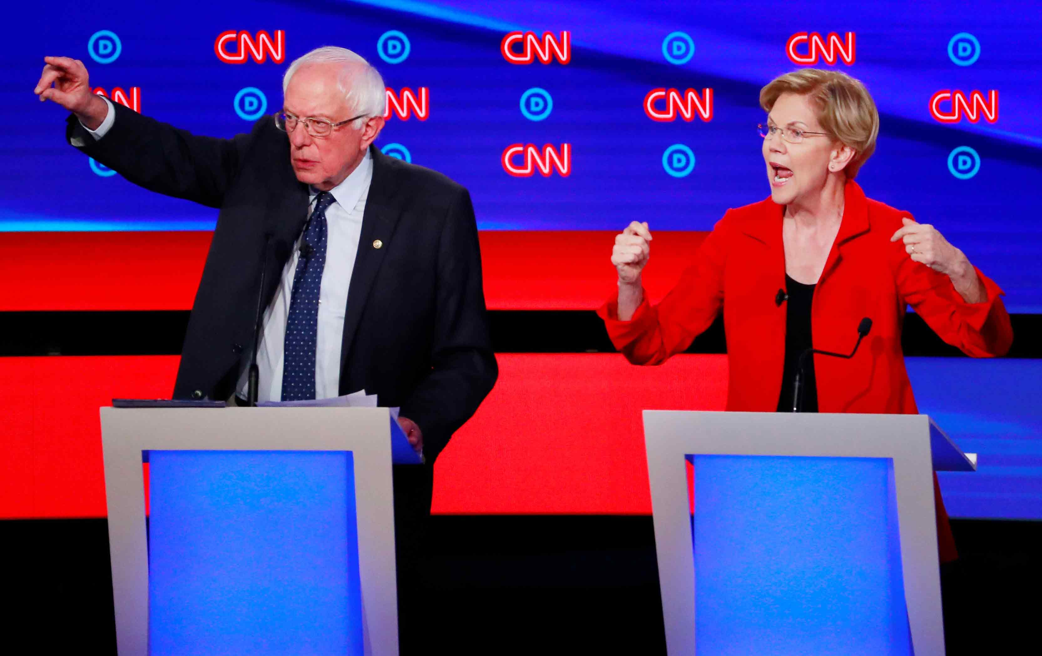 Senators Elizabeth Warren and Bernie Sanders
