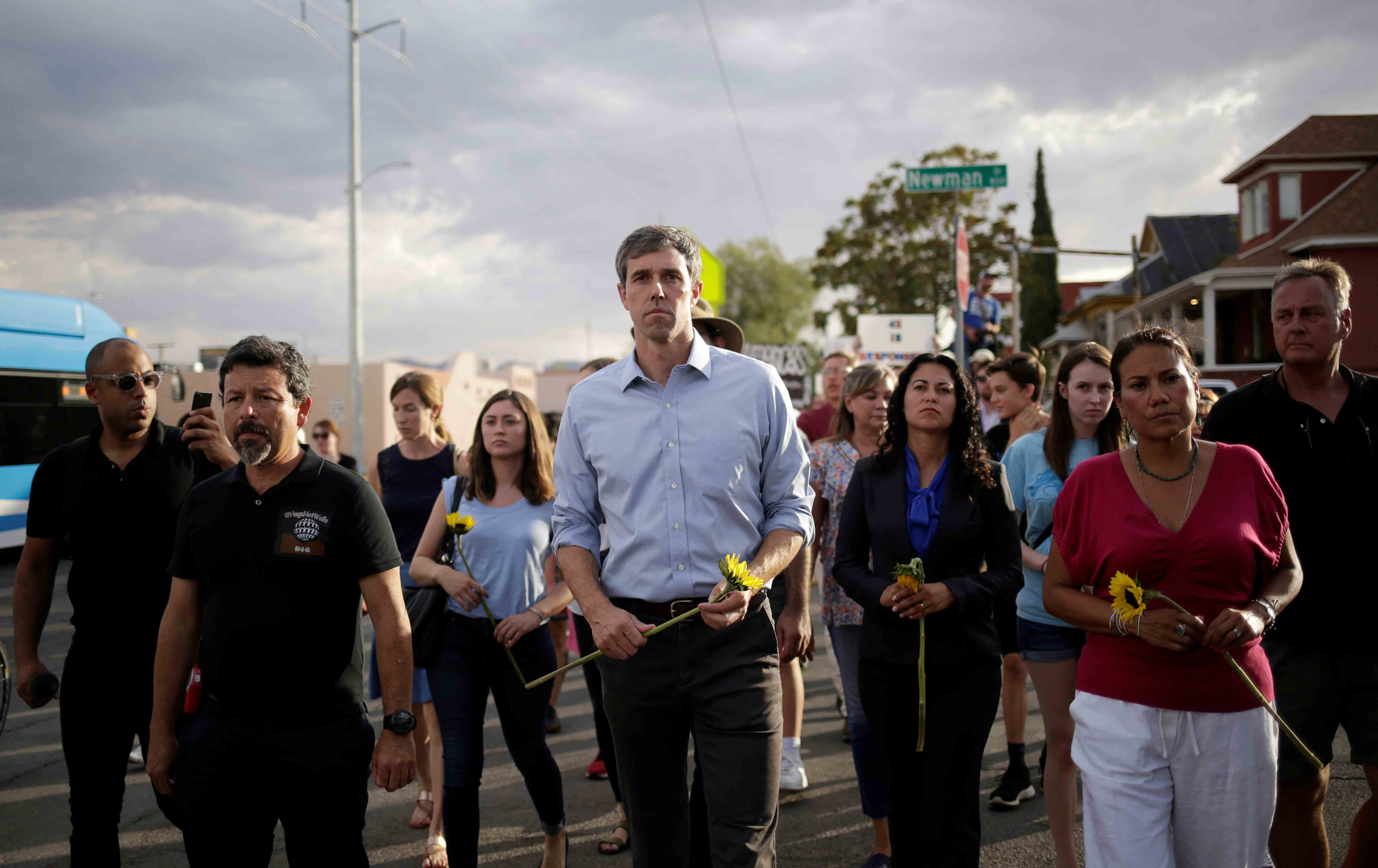 Beto O'Rourke participates in a rally against hate.