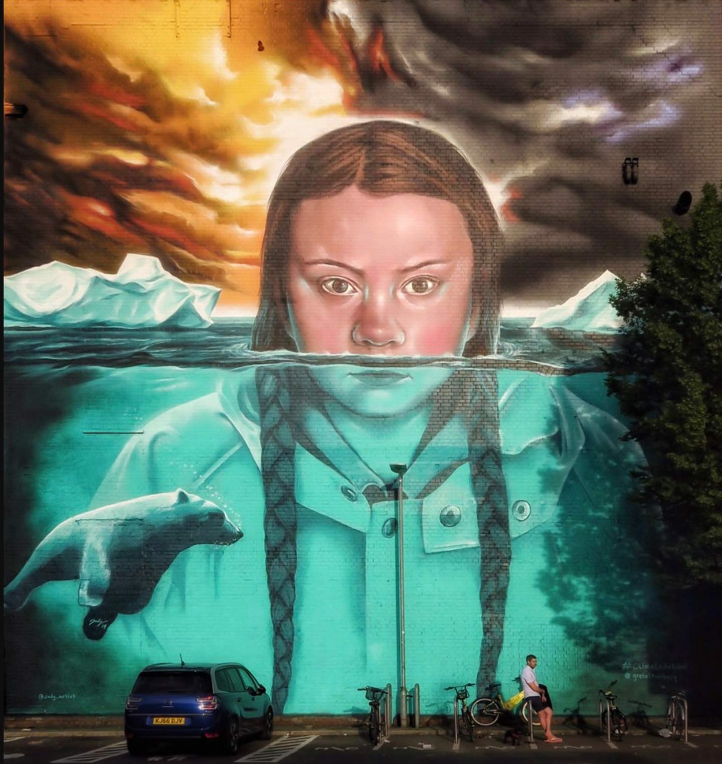 Jody Thomas's mural of Greta Thunberg, located on a wall in Bristol, England.