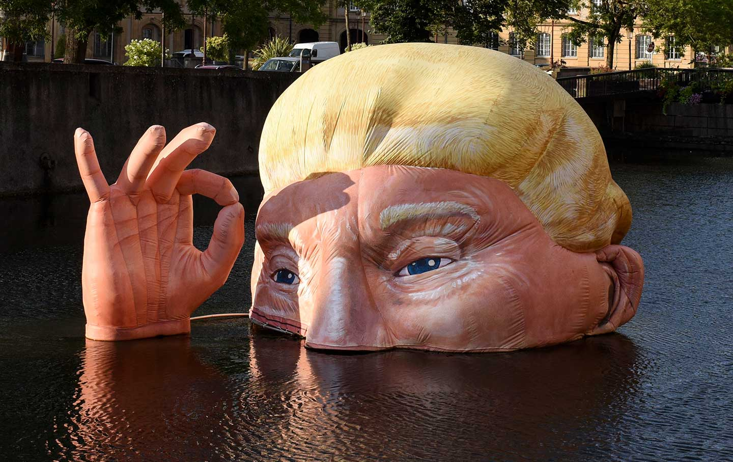 Climate art Trump drowning