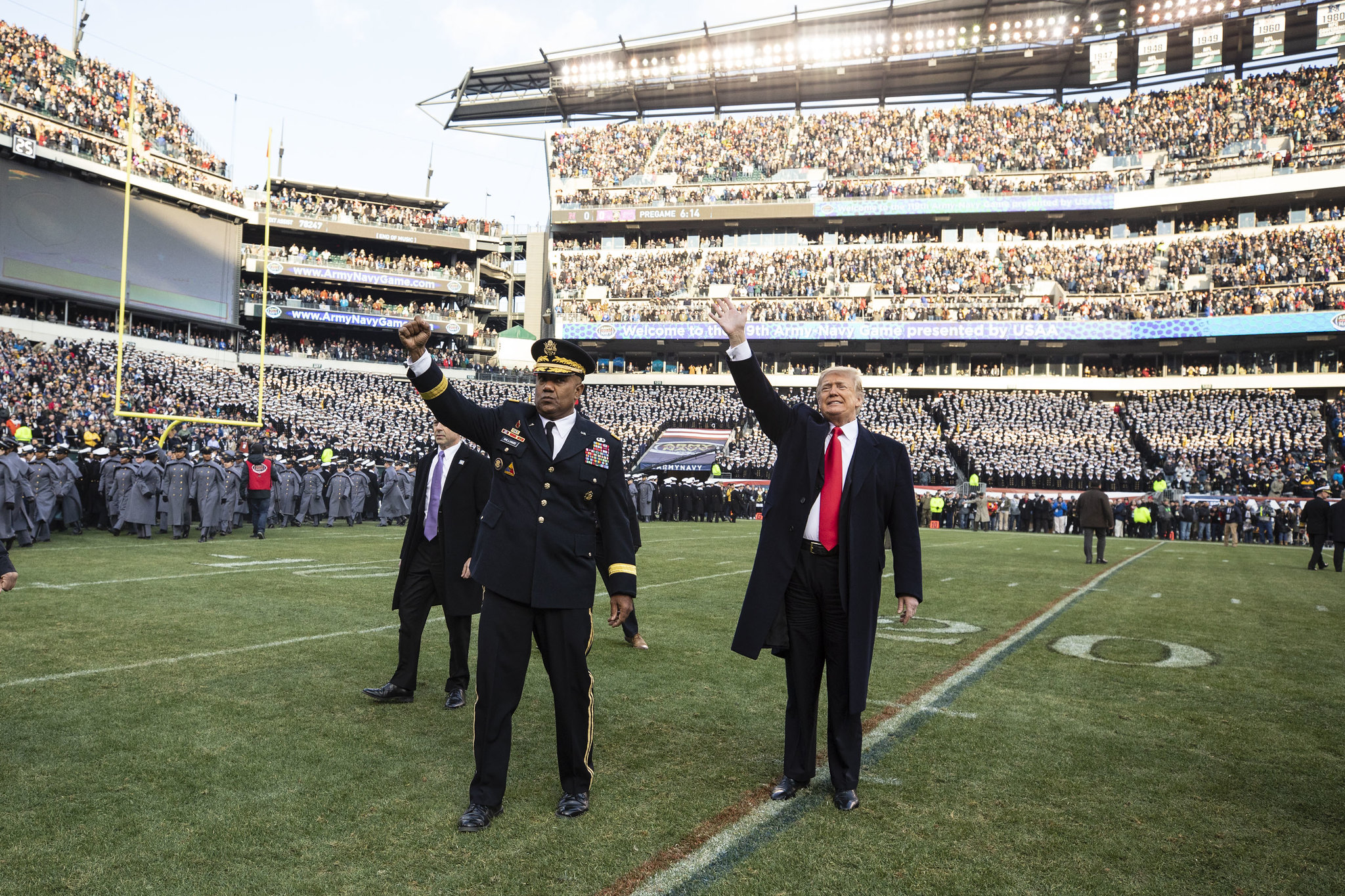 Donald Trump waves to the crowd at the Army-Navy football game