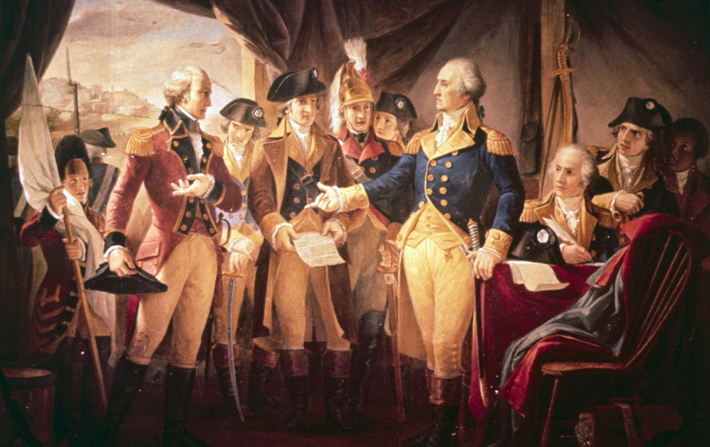 George Washington (1732-1799) with British soldiers at Yorktown.
