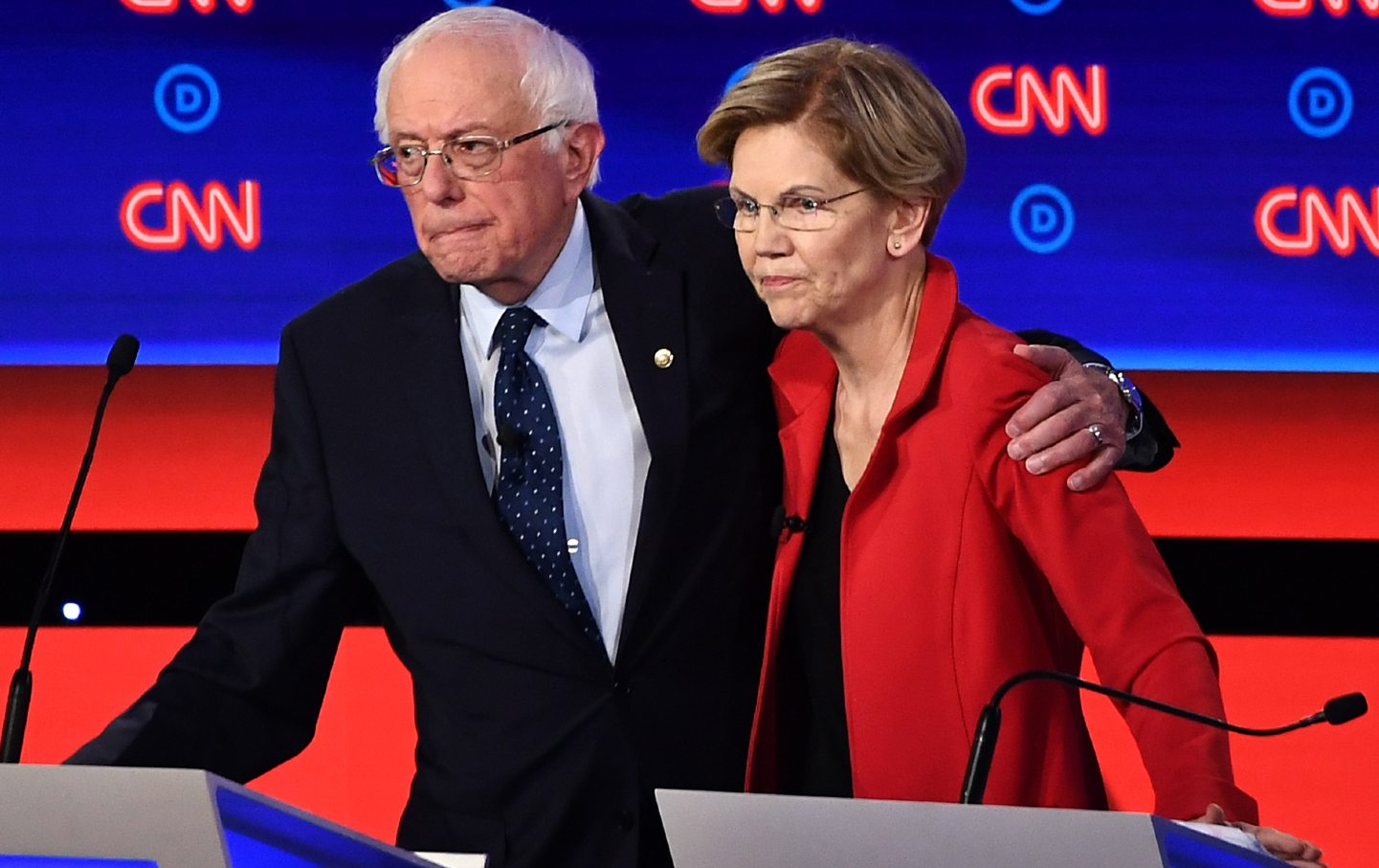 Bernie Sanders and Elizabeth Warren after a primary debate