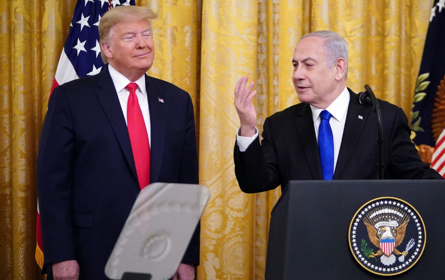 Trump and Netenyahu speaking at the White House