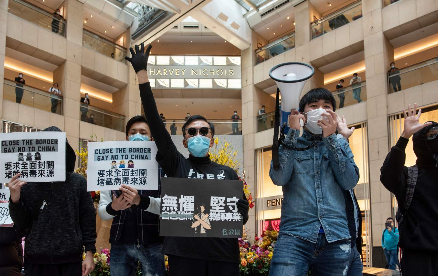 Protestors at a Hong Kong mall