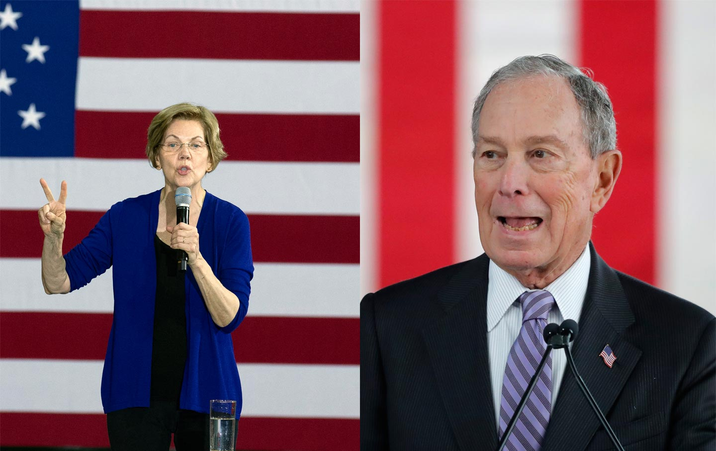 Elizabeth Warren and Michael Bloomberg
