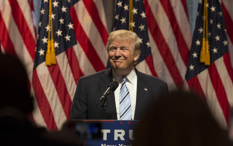 Trump speaks at Hilton Hotel in Midtown Manhattan in July 2016