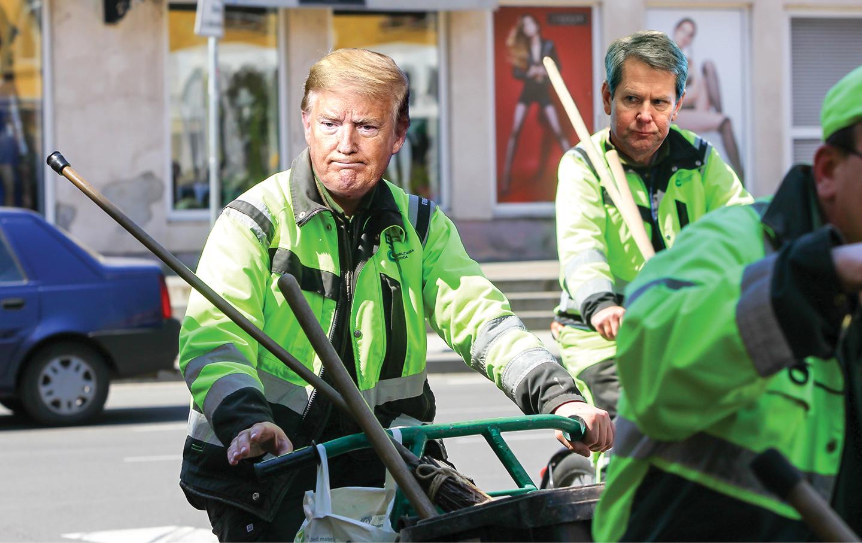 Trump as Garbage man