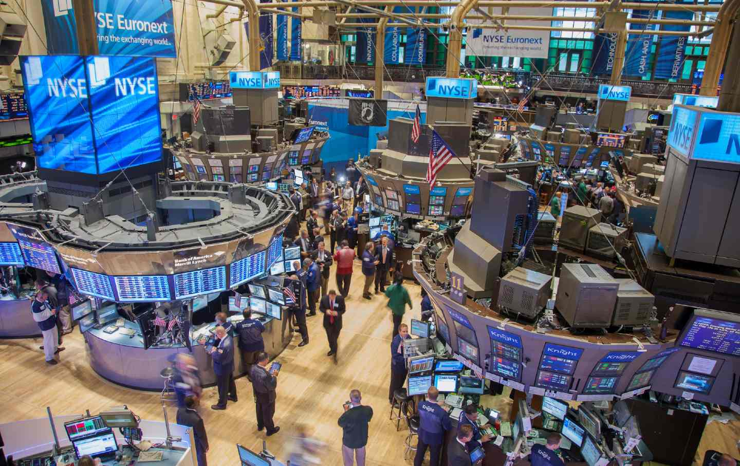 Busy trading floor on New York Stock Exchange.