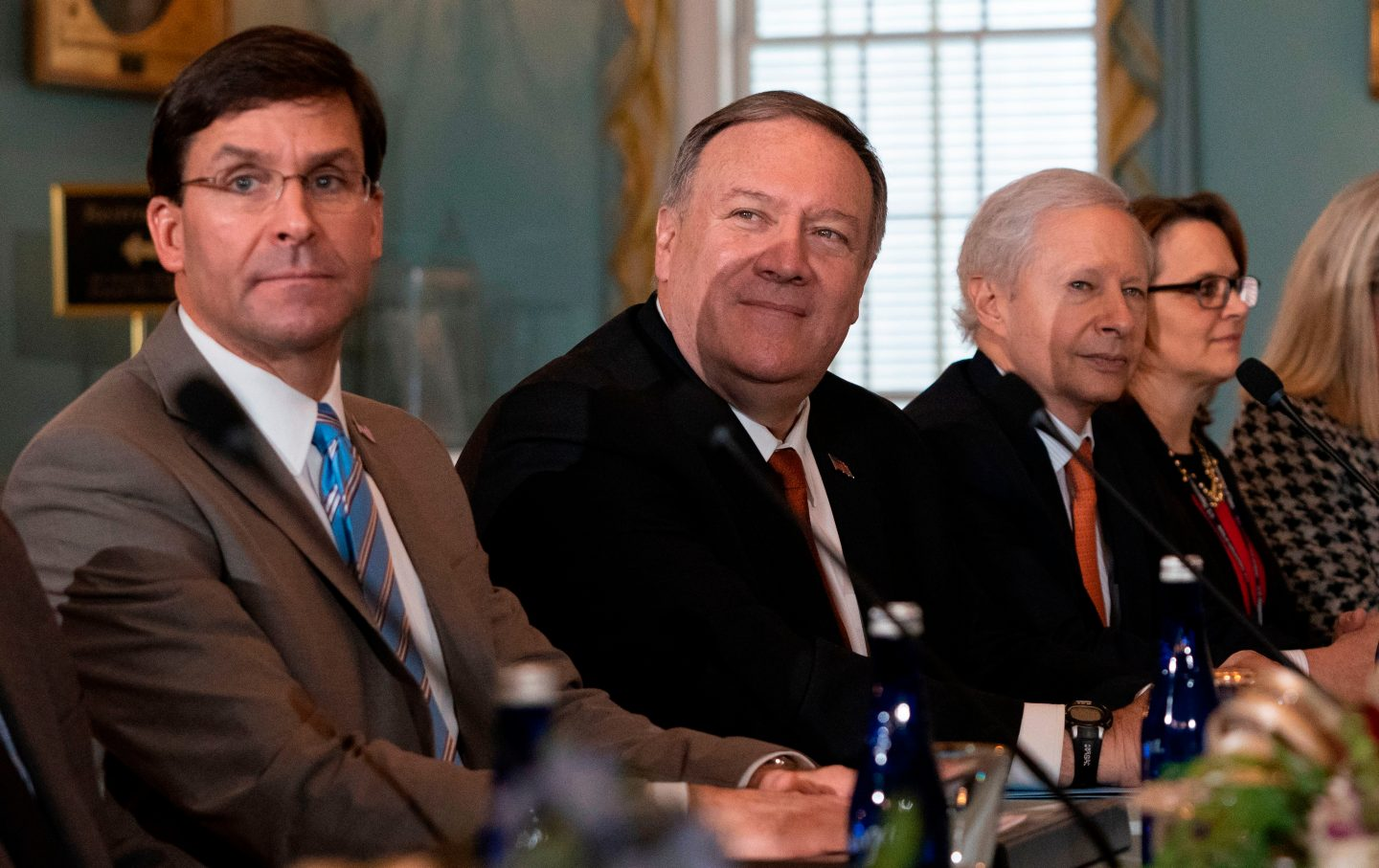 Mike Pompeo and Mark Esper look on during meeting with Indian military officials
