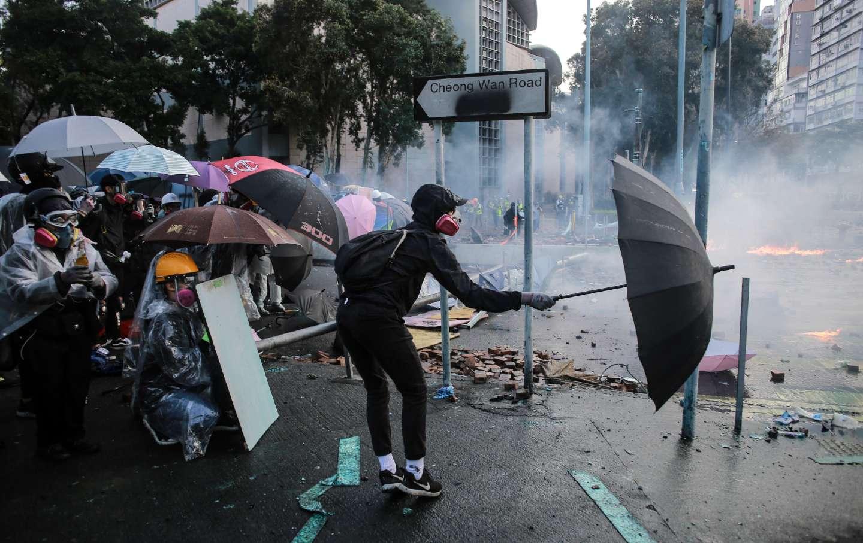 Protester with umbrella