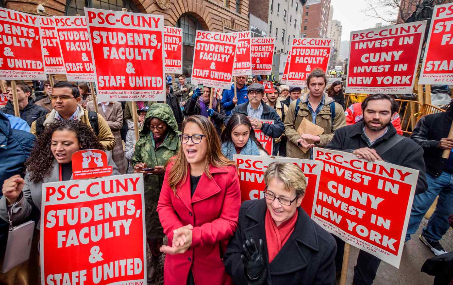 Protest outside Baruch College