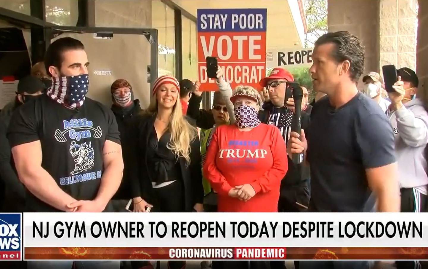 a Fox news anchor interviews a gym owner with a crowd behind him