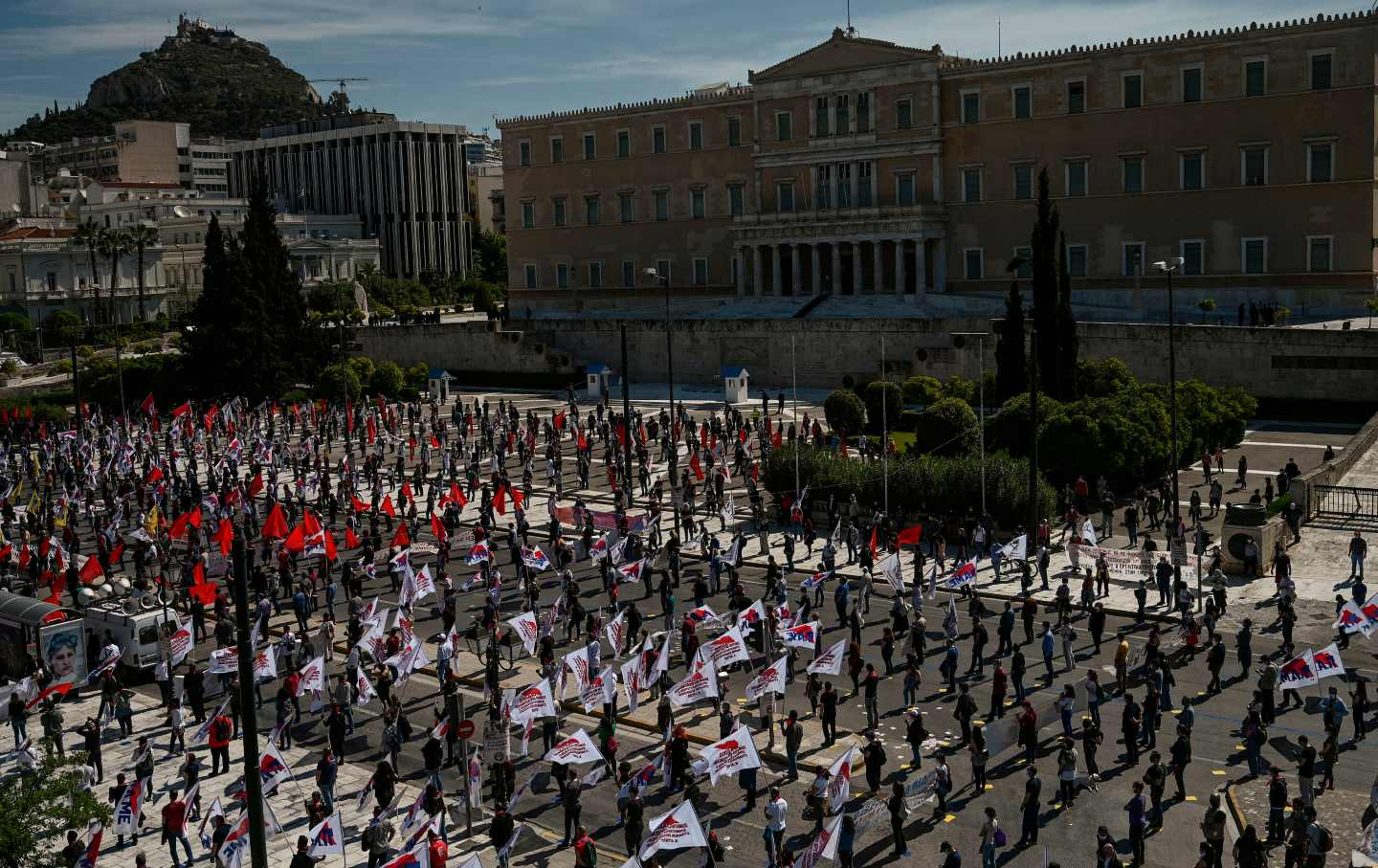 Greek protesters during a May Day demonstration