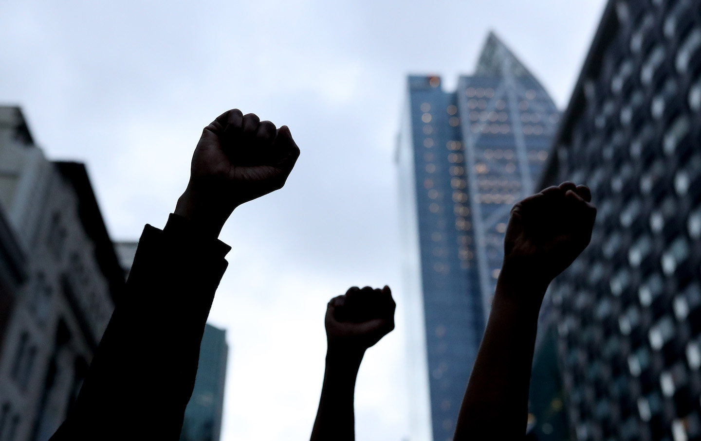 Protestors march on June 01, 2020.