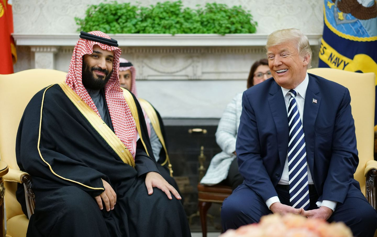 Donald Trump sits next to Saudi Crown Prince in Oval Office