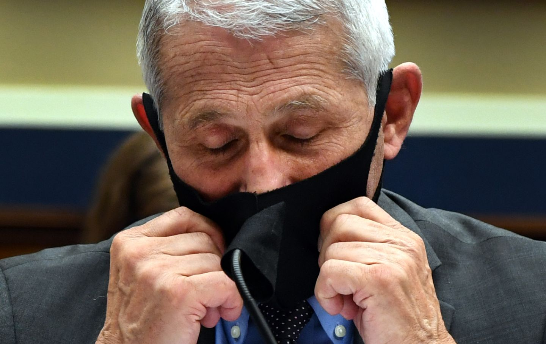 Fauci testifying in a mask