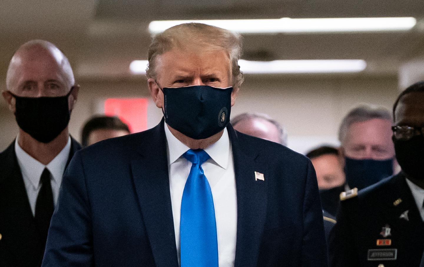 Trump wearing a mask