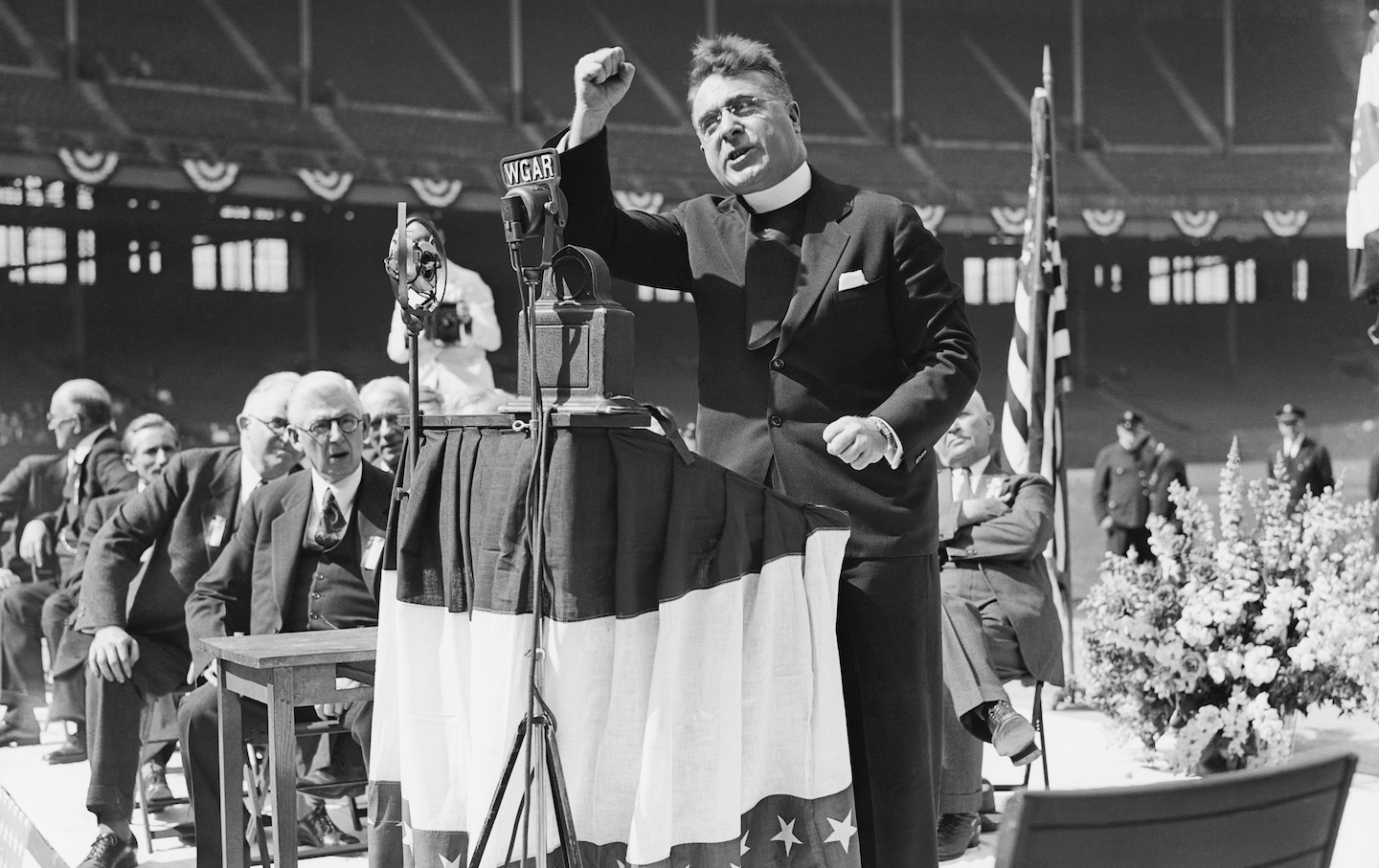 Father Coughlin Addresses Cleveland Rally